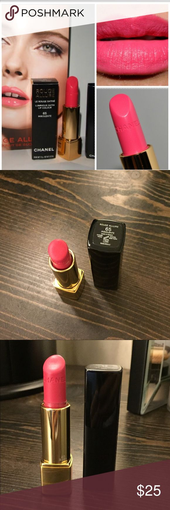"""Chanel Rouge Allure """"Insolente"""" lipstick 90% left! This is the push spring technology for opening the tube. More matte finish, long wear CHANEL Makeup Lipstick"""