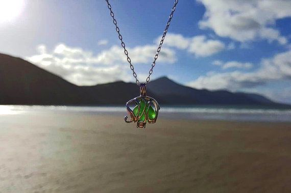 Emerald Green Sea Glass Elephant Locket Sea by EveryoneLovesTheSea