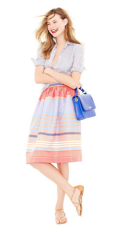 J Crew: Style, Summertime Stripes, Clothing, J Crew, Vertical Stripesjcrew, Jcrew Strips, Jcrew Summer, Skirts Patterns, Fashion Inspiration