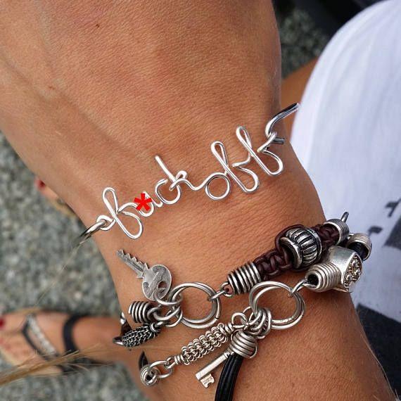 17%off Personalized bracelet , fuck off SILVER PLATE  wire bracelet