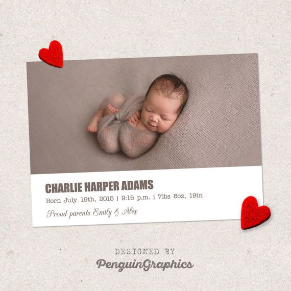 Birth announcement template card. Newborn baby by PenguinGraphics