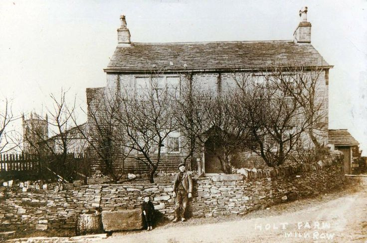 Holt Farm, what the Holt Estate is named after, you can see Milnrow Church in the background.