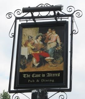 The Case is Altered is a corruption of the Spanish 'House of Fun' - splendidly depicted in its hanging sign. Eastcote, UK