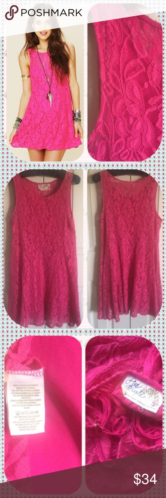 """💖 Free People """"Pretty in Pink"""" Lace Dress💖 💝 Wrap yourself up in a fur or puffer and then go out country line dancing in your cowgirl boots! Yee haw! EUC!! Lace fully lined with cotton and washable! Free People Dresses"""