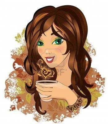 Color illustration of a Young female drinking hot coffee Stock Photo - 8787334