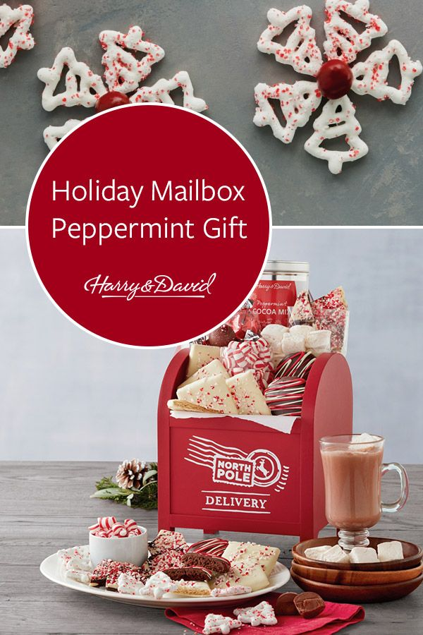 Send a unique Christmas gift with this festive mailbox filled with sweet holiday treats. This North Pole delivery includes bakery-fresh dark chocolate ...