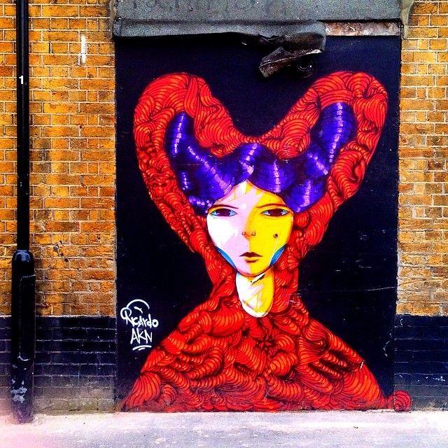Spanish Chica by Ricardo AKN #street art off Old St #graffiti #instagram