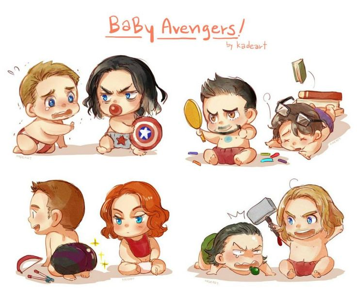 Baby Avengers! By Kadeart //How cute they are :)