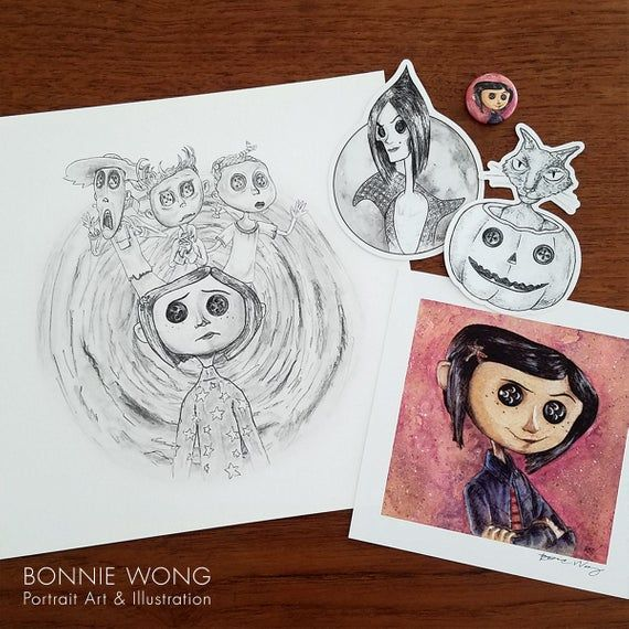 Coraline Art Prints And Sticker Bundle Set Be Careful What You