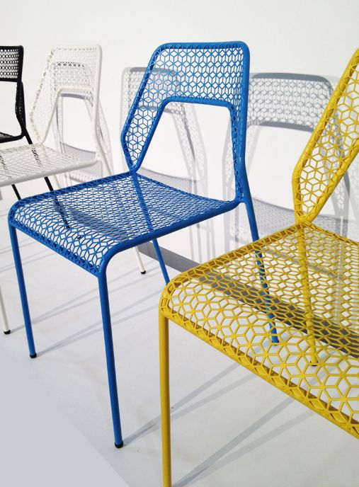 Hot Mesh Chairs by Bludot. Stackable outdoor chairs.