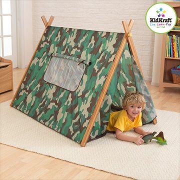 KIDKRAFT Telt 'Camo Tent'. Med dette solide og tøffe kamuflasjeteltet fra Kidkraft, kan barna late som de er på camping ut i ørkenen uten å gå utendørs! Kr 799