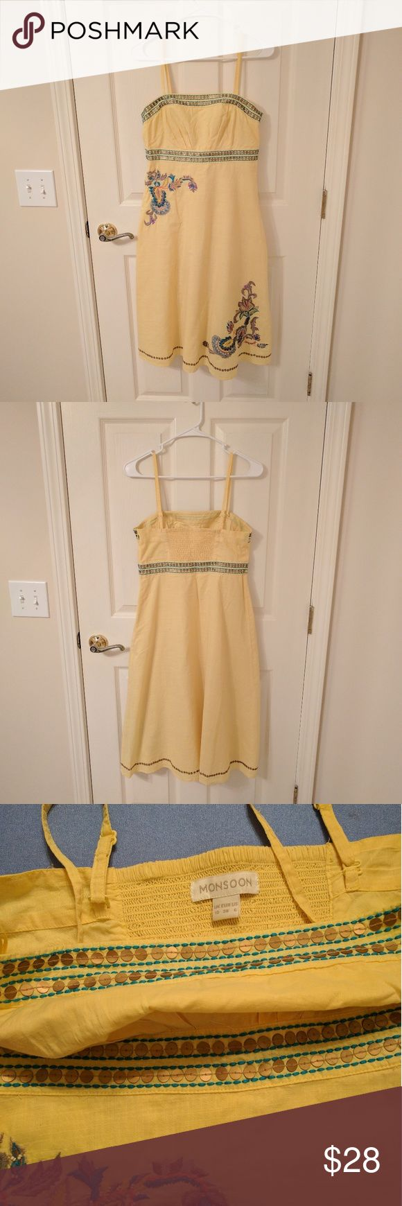Yellow summer dress with embroidery Monsoon dress purchased in London with exquisite embroidery and gold matte sequins. Like new condition. Can be worn as strapless or with spaghetti straps. Monsoon Dresses Maxi