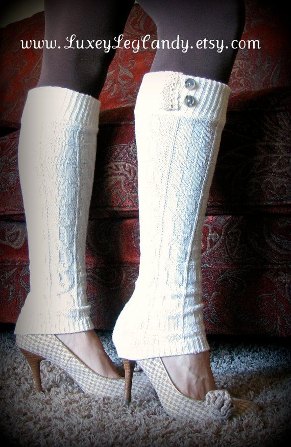 Leg Warmers In Off White Perfect with boots heels by LuxeyLegCandy, $25.00