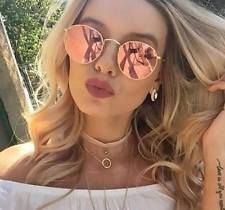 ROSE GOLD Pink MIRRORED Reflective ROUND SUNGLASSES Celeb DESIGNER Festival