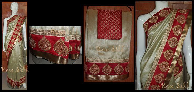 Coffee semi Raw Silk saree with red and gold zari borders.
