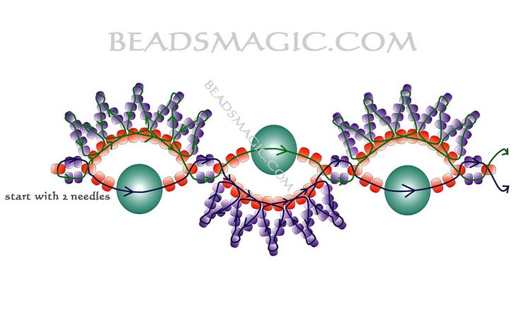 Free pattern for beaded bracelet Peles   U need: seed beads 11/0 seed beads 10/0