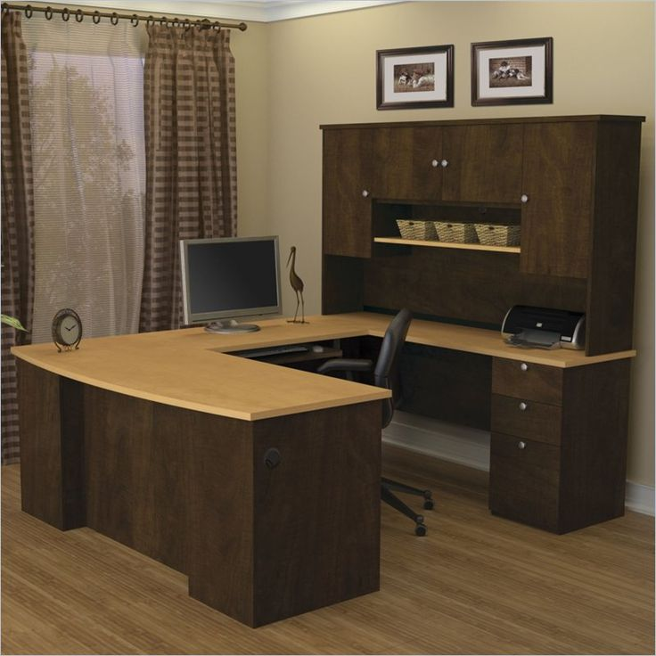 shape executive desk in secret maple and chocolate 81411 75 office
