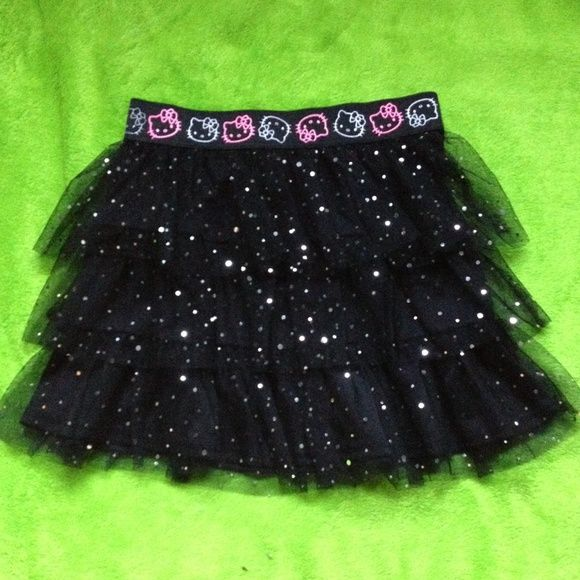 Hello Kitty tutu Black, sparkly, kawaii, Hello Kitty tutu! It's children's size but fits like a women's XS or S. Never worn. Can be bundled. Hello Kitty Dresses
