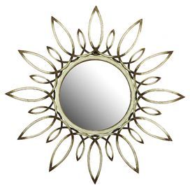 "Metal wall mirror with a sunburst silhouette.    Product: Wall mirror Construction Material: Mirrored glass and metal   Color: Ivory frameFeatures: Sunburst silhouette   Dimensions: 31"" Diameter"