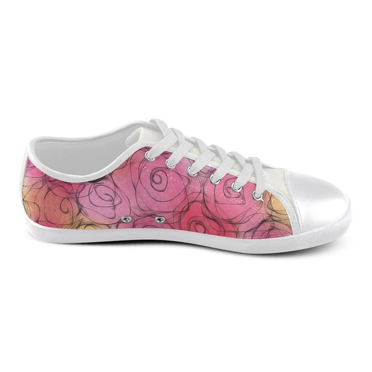 Red Pastel Roses. Inspired by the Magic Island of Gotland. Women's Canvas Shoes (Model 016)