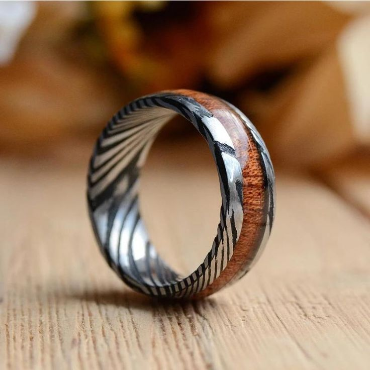 8mm Mens Wedding Band With Koa Wood Inlay And Damascus Steel
