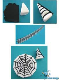 How to make a spider web cane from polymer clay. A great idea for Halloween by Mars Design.