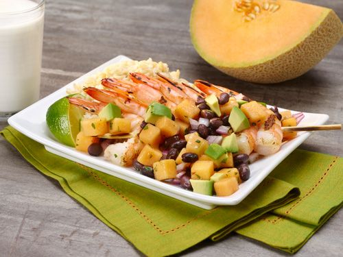 Click to view larger image of Grilled Shrimp with Melon Avocado Salsa : Fill Half Your Plate with Fruits