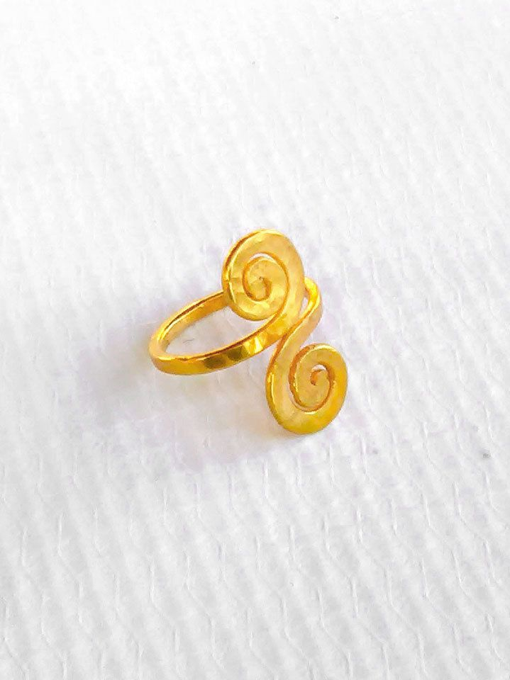 Double Spiral Ring , Gold Midi Ring , Spiral Midi Ring , Adjustable Midi Ring , Gift For Her , Greek Jewelry , Boho Ring , Hammered Ring by profoundgarden on Etsy