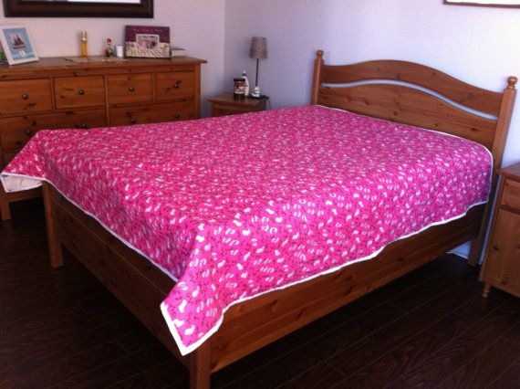 """Full Size Quilt,Handmade, Cheerful, Pink Patchwork Quilt, Bird Quilt Bright colourful squares, fuschia backing/white birds,  79"""" x 83"""", Warm"""