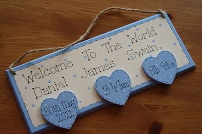 new baby craft ideas | New Baby Arrival Plaque