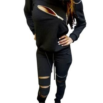 Sportsuit Womens Tracksuit Zipper Chest Sexy Hoodie Sweatshir t+Pants Hip Pop Suit High Quality Free Shipping DM#6
