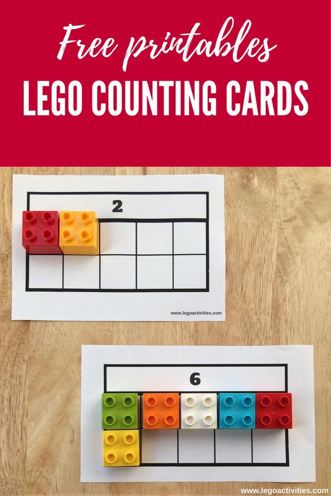Free LEGO counting cards | Actividad para contar ladrillos LEGO DUPLO | www.legoactivities.com