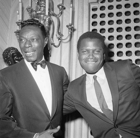 "Oscar winner Sidney Poitier and Nat ""King"" Cole at the 1963 Academy Awards at the Santa Monica Civic Auditorium, April 8, 1963"
