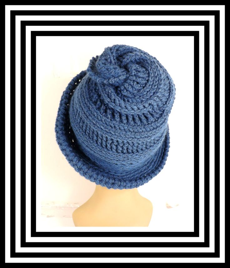 Dark Country Blue Crochet Hat, Womens Hat, Steampunk Hat, Crochet Wide Brim Hat Women, Dark Country Blue Hat, VIRGINIA, Winter Hat by strawberrycouture on Etsy. I really like the top swirl.