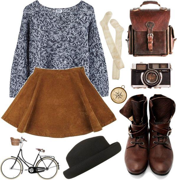 Vintage things by hanaglatison featuring a porkpie hatCorduroy skirt, $77 / Wigwam socks / John Fluevog lace up boots / Brown bag / Topshop ...