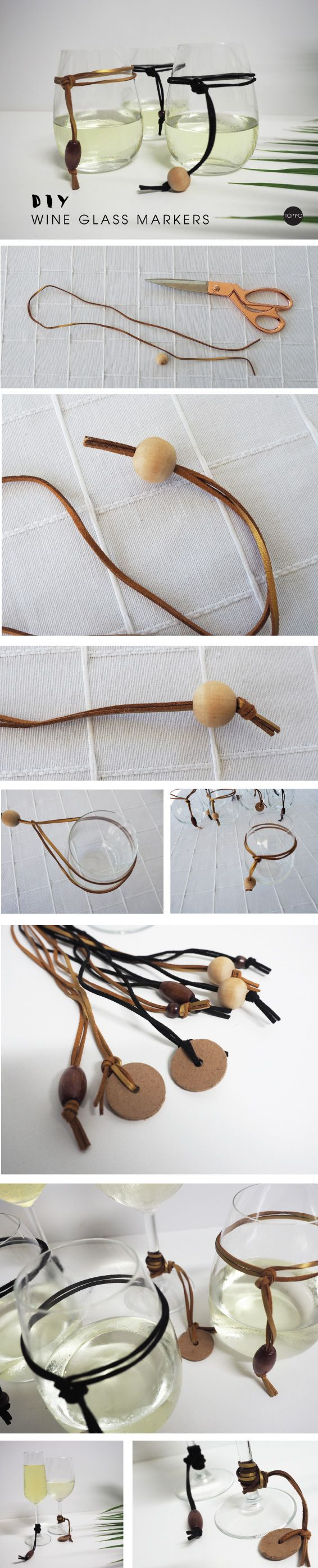 DIY Wine Glass Marker – Scandinavian Inspired. How cool are these? You can wear them as a necklace or bracelet too, check out this blog for the easy tutorial.