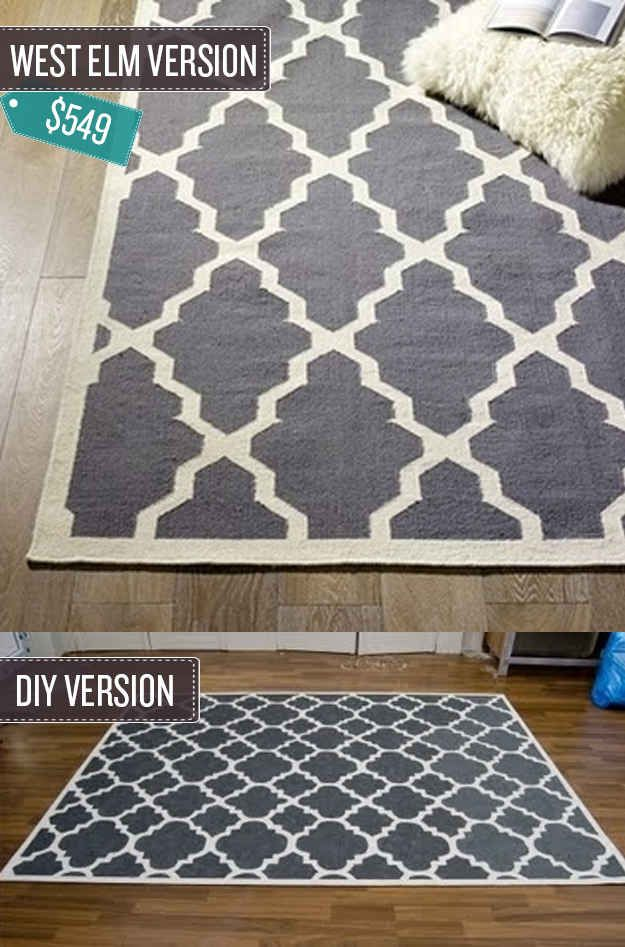 Add a pattern to a basic rug--DIY with links--love these! | 24 West Elm Hacks