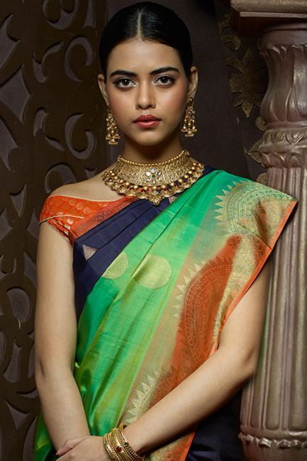 Multicolor Kanchipuram Silk Zari Woven Half & Half Saree-SR24215