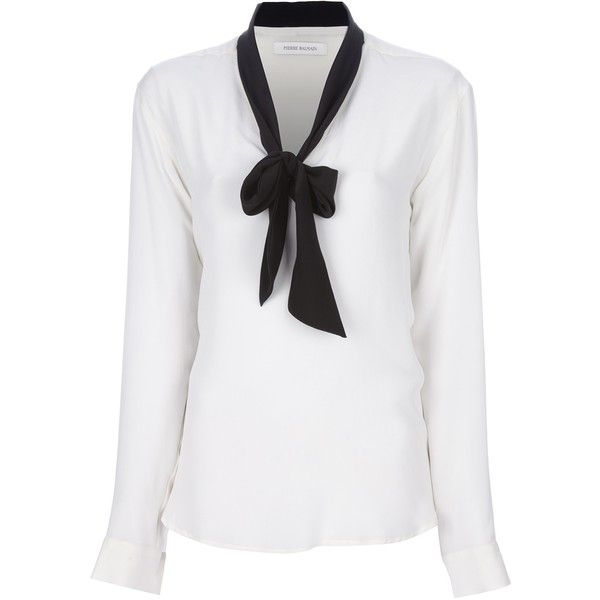 PIERRE BALMAIN silk pussybow blouse (€305) ❤ liked on Polyvore featuring tops, blouses, blusa, shirts, balmain, long sleeve tops, bow neck blouse, white tops, long sleeve shirts and silk blouse