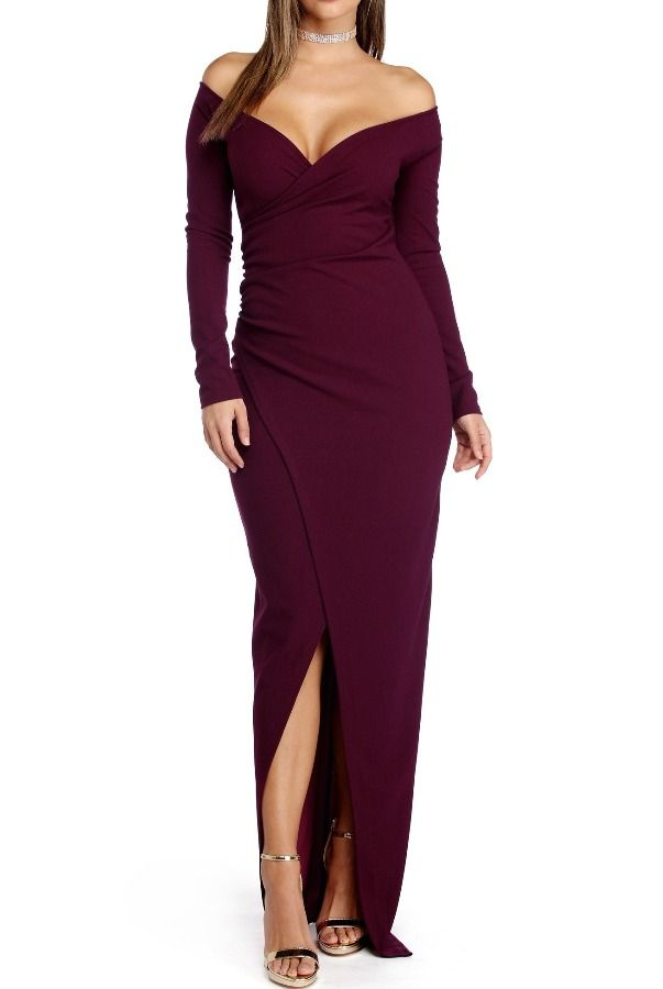 The Frock Shop Deep Plum Wrap Long Sleeve Bodycon Evening Gown Poshare Stroll Through The Eve Evening Gowns Strapless Evening Gowns Long Sleeve Evening Gowns