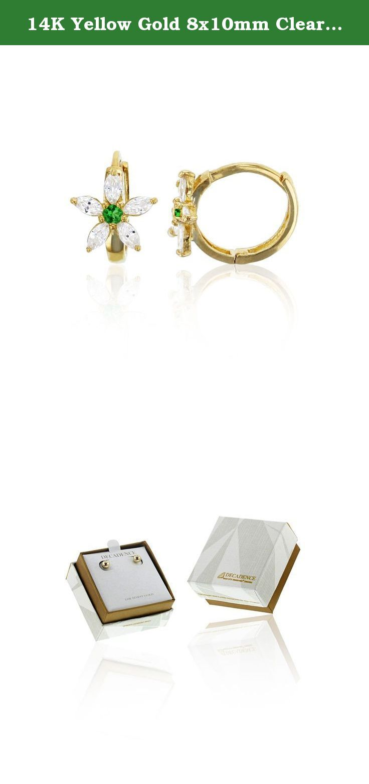 14K Yellow Gold 8x10mm Clear and Green Emerald CZ Flower Huggie Earring