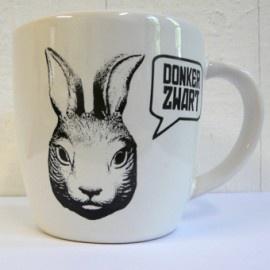 Rabbit! Coffee mug prints designed by Donker Zwart and hand silkscreen printed.