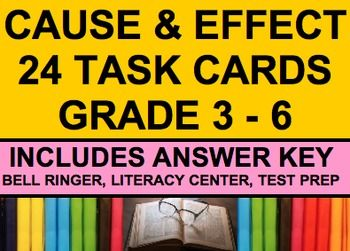 Cause and Effect Task Cards: 24 paragraph cards.Use these 24 task cards to help your students identify cause and effect relationships in text. #causeandeffecttaskcards