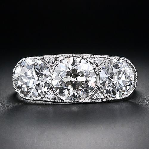 3.15 Carat Art Deco Three-Stone Diamond Ring