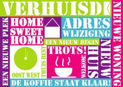 Verhuiskaart tekst felle kleuren - Verhuiskaarten - Kaartje2go