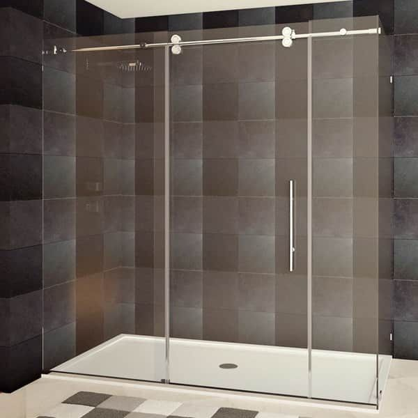 LessCare 79 x 72 x 36-inch Frameless Chrome/ Brushed Nickel Finish Clear Glass Shower Enclosures