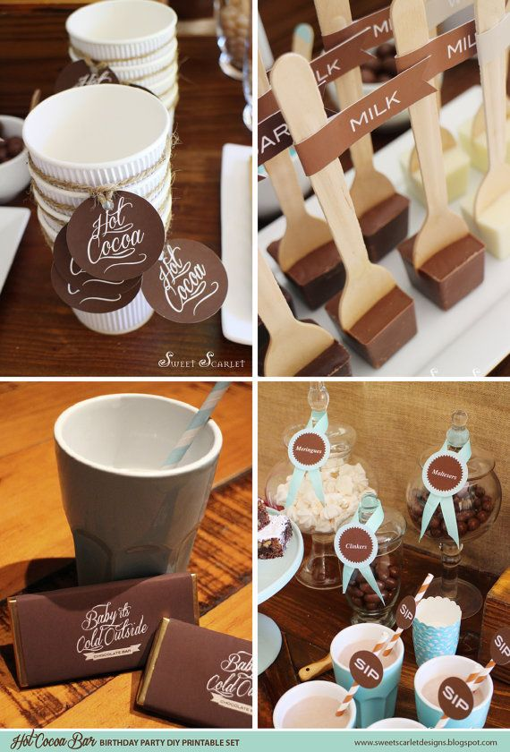 BABY IT'S COLD Outside Hot Cocoa Bar Printables - Drink Labels, Banner, Cupcake Toppers, Party Signs, Candy Wrappers & more. You Print.