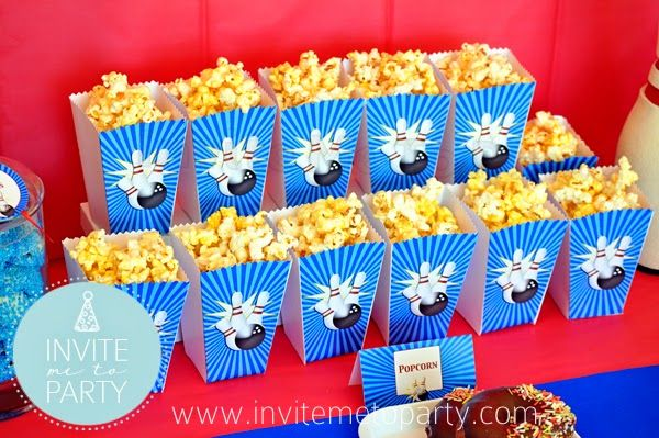 Bowling Party Popcorn Boxes   Invite Me To Party: Ten Pin Bowling Party / Bowling Party