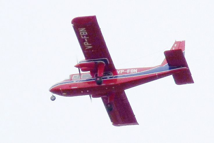 Britten-Norman Islander of the Falkland Islands Government Air Service (FIGAS) over Stanley, Falkland Islands