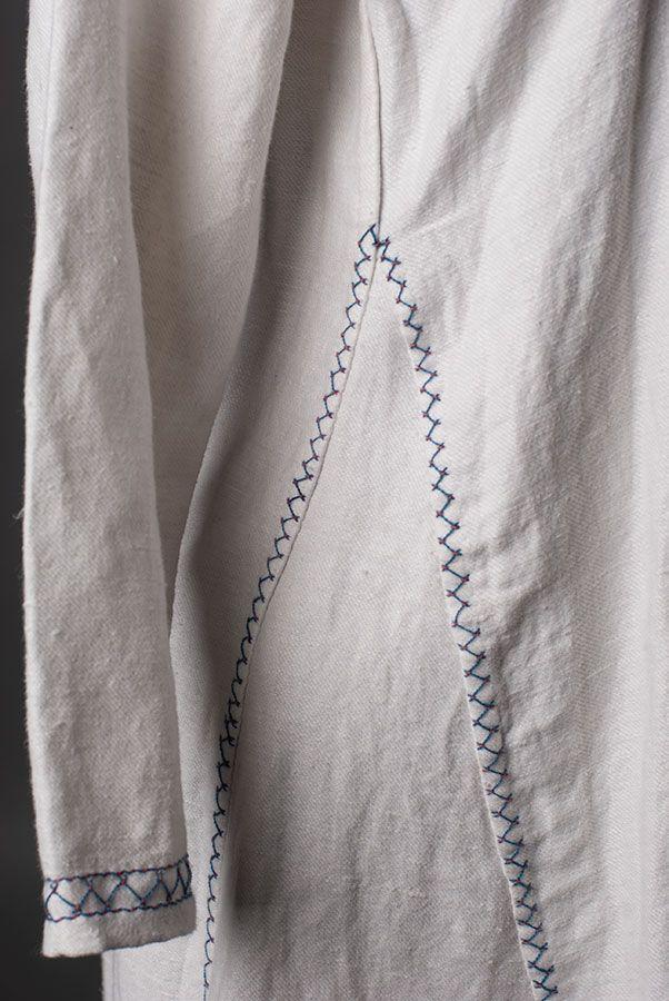 Seam treatment with herringbone stitch on my viking underdress